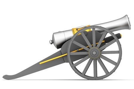 Ancient cannon on wheels isolated on white photo