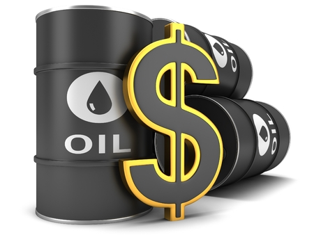 barell: Barrel of oil and dollar sign on a white background