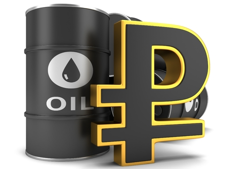 barell: Barrels of fuel with the sign of the ruble