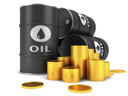 barell: Barrel of oil and coins on a white background