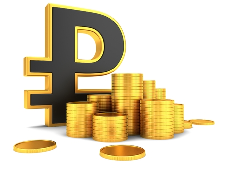 stack of coins: Sign of the Russian ruble with gold coins Stock Photo