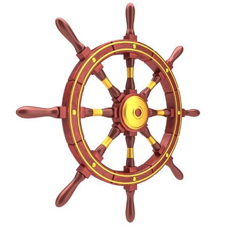helm boat: Red vieja rueda de dirección del barco aislado en el fondo blanco Foto de archivo