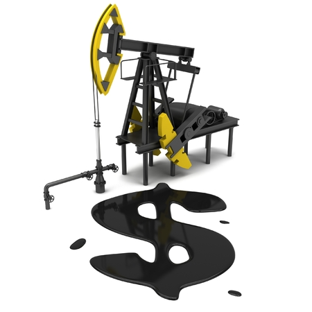 pumping: Oil Pumping Derrick on a white background. 3D illustration