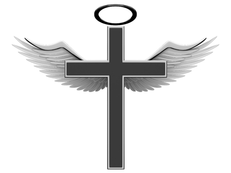 cross and wings: Christian cross and angel wings on a white background. 3D rendering
