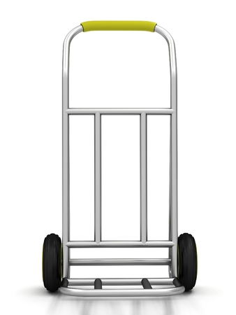 sack truck: Two-wheel trolley on a white background. 3D rendering Stock Photo