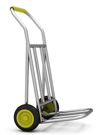 Two-wheel trolley on a white background. 3D rendering Stock Photo