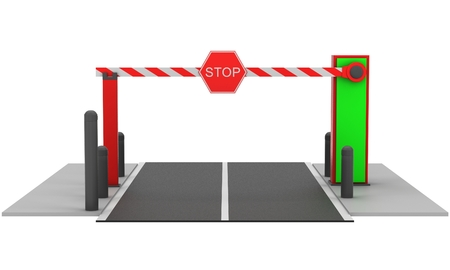 openly: Automatic barrier on white background. 3D rendering