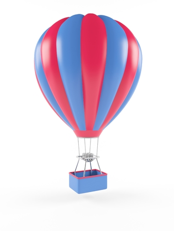 air transport: Hot air balloon isolated on white background. 3D rendering Stock Photo