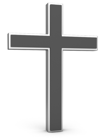 mormon: Christianity Symbol. Silver cross on a white background. 3D illustration