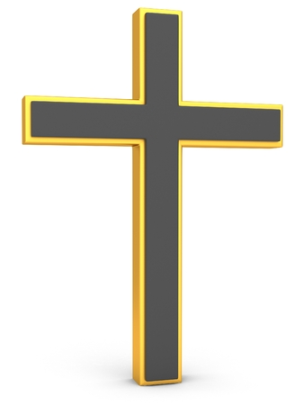 gold cross: Christianity Symbol. Gold cross on a white background. 3D illustration Stock Photo