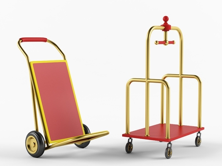 sack truck: The hotel trolley on a white background. 3D rendering
