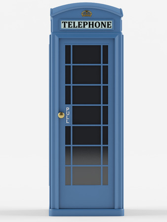 antique booth: British telephone box on a white background. 3D rendering