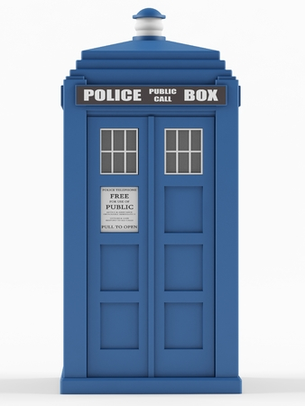 story time: Police box on a white background. 3D rendering Stock Photo