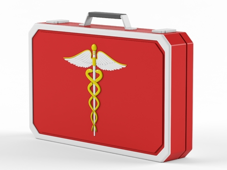 firstaid: First aid box on a white background. 3D rendering.