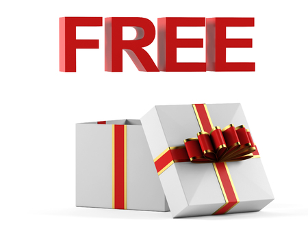 free gift: Gift box and free inscription on a white background. 3D rendering