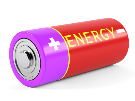 eyepiece: AA size batteries on white background. 3D rendering