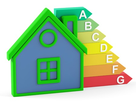 Energy efficiency and house on white background. 3D rendering