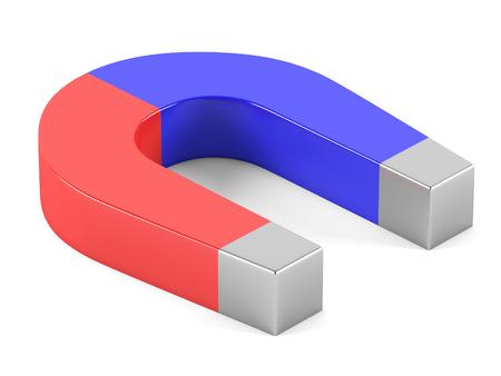magnetite: Horseshoe magnet on a white background. 3D rendering
