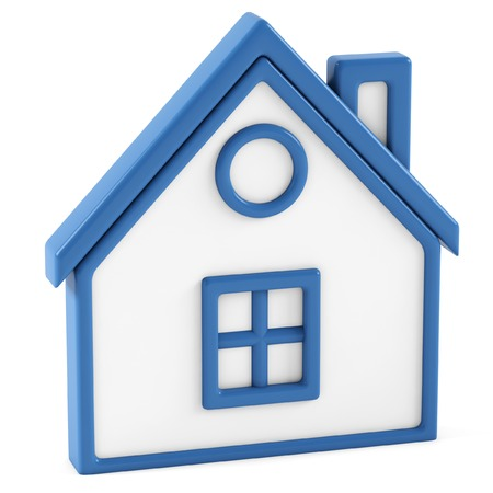 close: House Icon on a white background. 3D illustration. Stock Photo