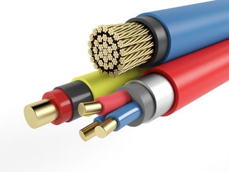 Elektrische koperen gepantserde kabel op een witte achtergrond. 3D-rendering