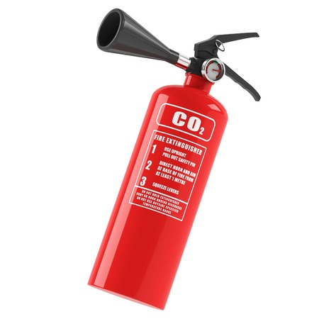 Fire extinguisher on a white background. 3D rendering Stock Photo