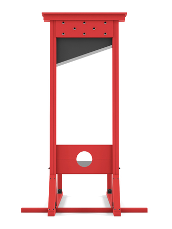 Guillotine on a white background. 3D rendering Фото со стока