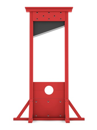 exterminate: Guillotine on a white background. 3D rendering Stock Photo
