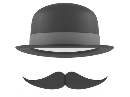bowler hat: Bowler hat and mustaches on a white background. 3D rendering Stock Photo