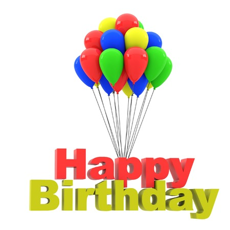midair: Group of balloons with the words happy birthday on the white background. 3D rendering