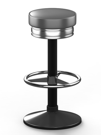 bar stool: Bar stool with cast-iron base and leather seat, isolated on white background. 3D illustration.