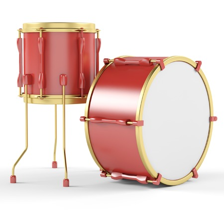 Drums on a white background. 3D illustration