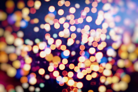 Vintage Color Bokeh Background. Defocused Abstract Soft Lights. Blurred Light Design Element. Festive Unfocused Backdrop. Elegant Toned Retro Image Foto de archivo - 110473135