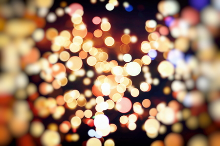 Vintage Color Bokeh Background. Defocused Abstract Soft Lights. Blurred Light Design Element. Festive Unfocused Backdrop. Elegant Toned Retro Image Foto de archivo - 110473315