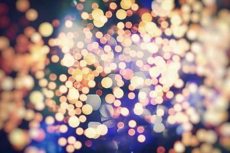 Vintage Color Bokeh Background. Defocused Abstract Soft Lights. Blurred Light Design Element. Festive Unfocused Backdrop. Elegant Toned Retro Image Foto de archivo - 110472777