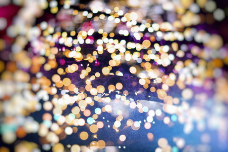 Vintage Color Bokeh Background. Defocused Abstract Soft Lights. Blurred Light Design Element. Festive Unfocused Backdrop. Elegant Toned Retro Image Foto de archivo - 110470214