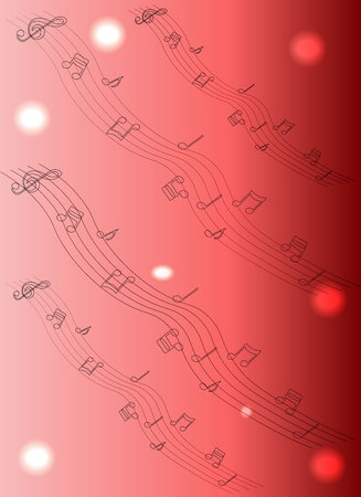 clefs: Abstract sheet music design elements depicting music staves with treble clefs, notes, clef signs with shadows and reflections isolated on white background Illustration