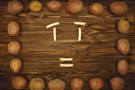 panelling: Beautiful frame and the original frame of potatoes for interesting ideas Stock Photo