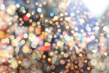 Festive background with natural bokeh and bright golden lights. Vintage Magic background with colorful bokeh Stock Photo