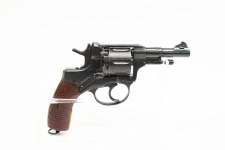 Photo of black revolver isolated on white background Stock Photo