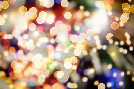 Blurry Christmas background. Eiffel Tower and bokeh lights. Vintage