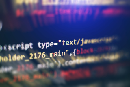 Code of web page displayed on a computer monitor Stock Photo