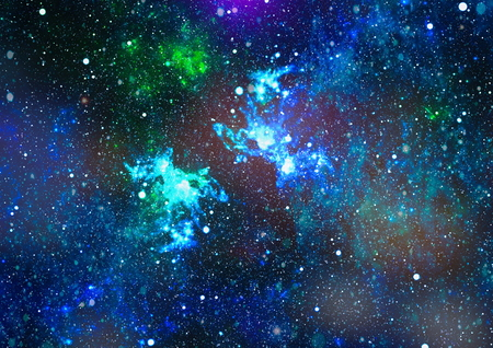 Panoramic looking into deep space. Dark night sky full of stars. The nebula in outer space. Stock Photo