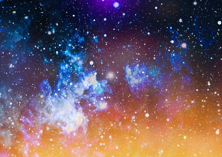Blue dark night sky with many stars. Milky way on the space background Stock Photo