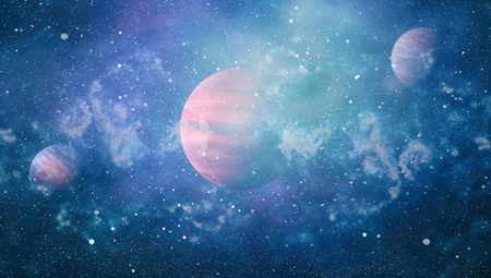 Scena dell'universo con pianeti, stelle e galassie nello spazio esterno che mostrano la bellezza dell'esplorazione dello spazio. Elementi forniti dalla NASA Archivio Fotografico - 81085582