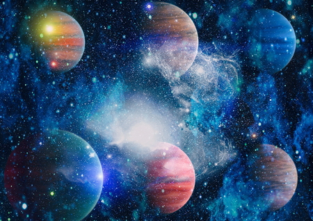 Universe scene with planets, stars and galaxies in outer space showing the beauty of space exploration. Elements furnished by NASA Zdjęcie Seryjne - 81085299