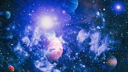 Scena dell'universo con pianeti, stelle e galassie nello spazio esterno che mostrano la bellezza dell'esplorazione dello spazio. Elementi forniti dalla NASA Archivio Fotografico - 81085214
