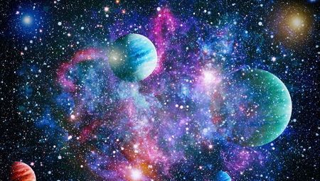 Univers scène avec des planètes, des étoiles et des galaxies dans l'espace montrant la beauté de l'exploration spatiale. Les éléments fournis par la NASA Banque d'images - 81084834