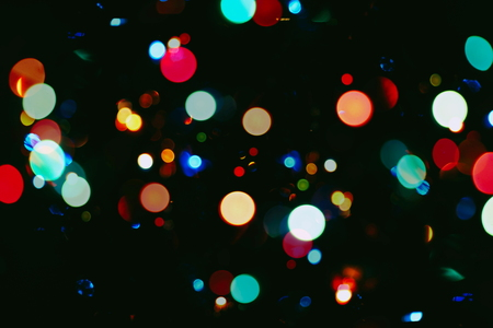 abstract blurred of blue and silver glittering shine bulbs lights background