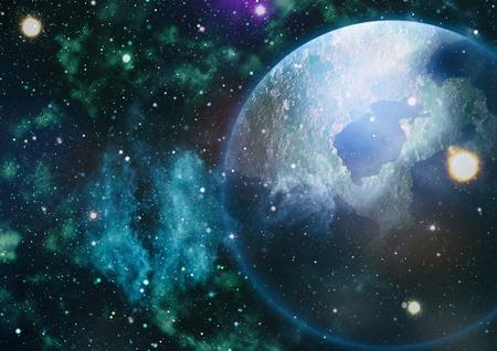 hidrógeno: Panorámica que mira hacia el espacio profundo. oscuro cielo nocturno lleno de estrellas. La nebulosa en el espacio exterior. Foto de archivo