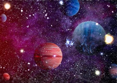 Mgławica i galaktyki w kosmosie. Zdjęcie Seryjne